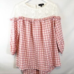 Suzanne Betro gingham Peasant Blouse Size …